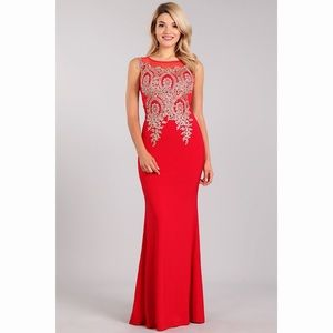Sexy Red Gold Lace Dress